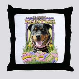 Easter Egg Cookies - Rottie Throw Pillow