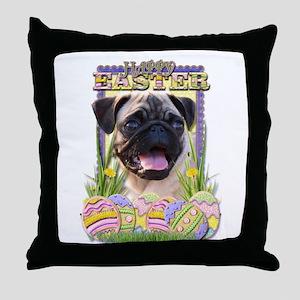 Easter Egg Cookies - Pug Throw Pillow
