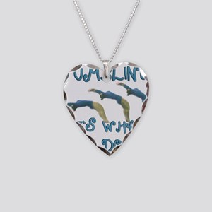Tumbling Gymnast Necklace Heart Charm