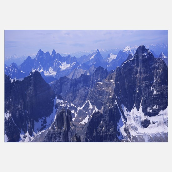 Aerial view of snow covered mountains, Mt Temple,