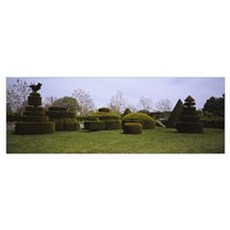 Hedges and topiaries in a garden, Wilmington, Dela Poster