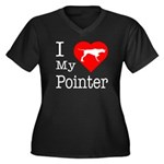I Love My Pointer Women's Plus Size V-Neck Dark T-