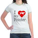 I Love My Pointer Jr. Ringer T-Shirt