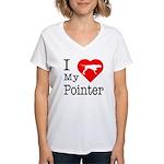 I Love My Pointer Women's V-Neck T-Shirt