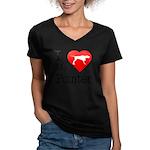 I Love My Pointer Women's V-Neck Dark T-Shirt