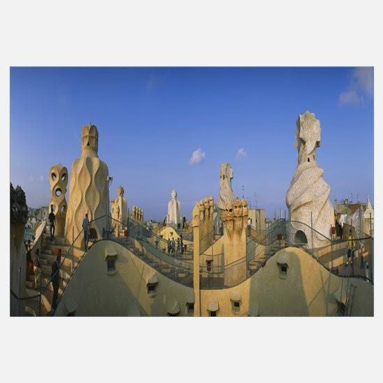 Chimneys on the roof of a building, Casa Mila, Bar