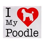 I Love My Poodle Throw Blanket