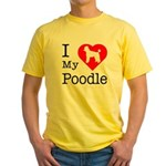 I Love My Poodle Yellow T-Shirt