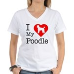 I Love My Poodle Women's V-Neck T-Shirt