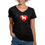 I Love My Poodle Women's V-Neck Dark T-Shirt