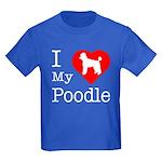 I Love My Poodle Kids Dark T-Shirt