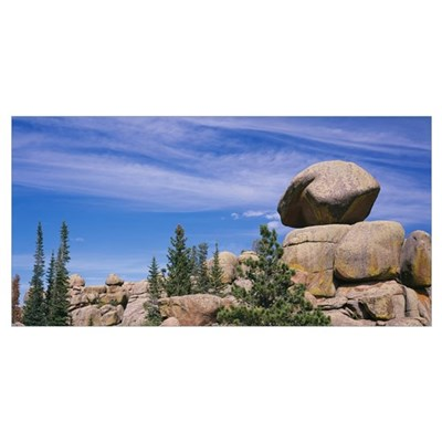 Trees near rock formations, Vedauwoo, Medicine Bow Poster