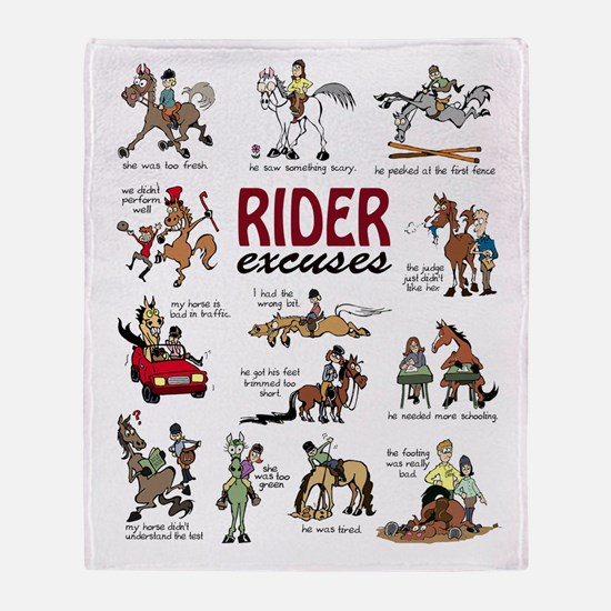 Rider Excuses Throw Blanket