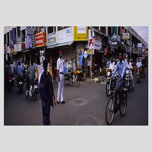 Policeman directing traffic on a street, Pondicher