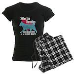 Husky Pawprints Women's Dark Pajamas