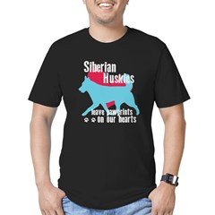 Husky Pawprints Men's Fitted T-Shirt (dark)