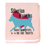 Husky Pawprints baby blanket