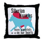 Husky Pawprints Throw Pillow