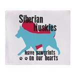 Husky Pawprints Throw Blanket