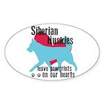 Husky Pawprints Sticker (Oval 10 pk)