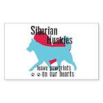 Husky Pawprints Sticker (Rectangle 10 pk)