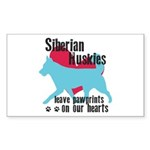Husky Pawprints Sticker (Rectangle 50 pk)