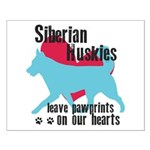 Husky Pawprints Small Poster