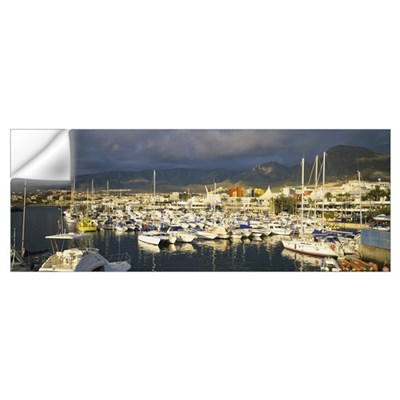 High angle view of boats moored at a harbor, Tener Wall Decal
