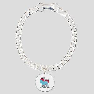Bull Terrier Pawprints Charm Bracelet, One Charm