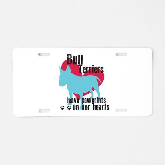 Bull Terrier Pawprints Aluminum License Plate
