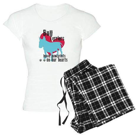Bull Terrier Pawprints Women's Light Pajamas