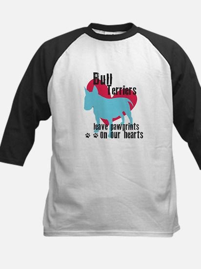 Bull Terrier Pawprints Kids Baseball Jersey