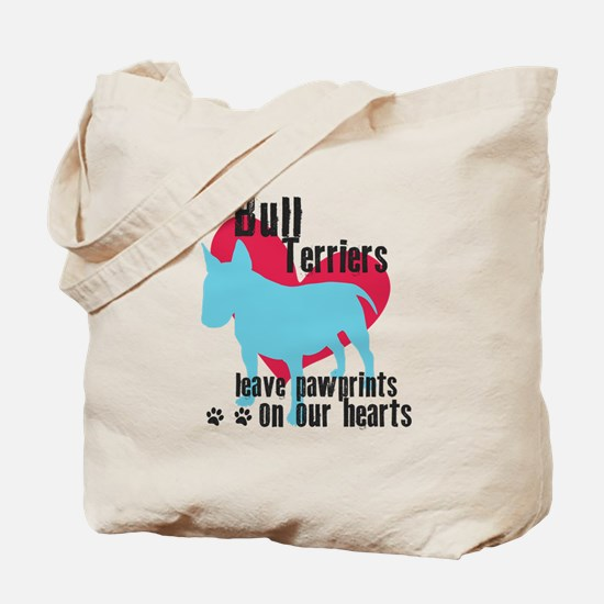 Bull Terrier Pawprints Tote Bag