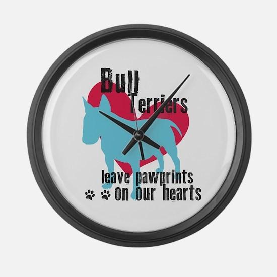 Bull Terrier Pawprints Large Wall Clock