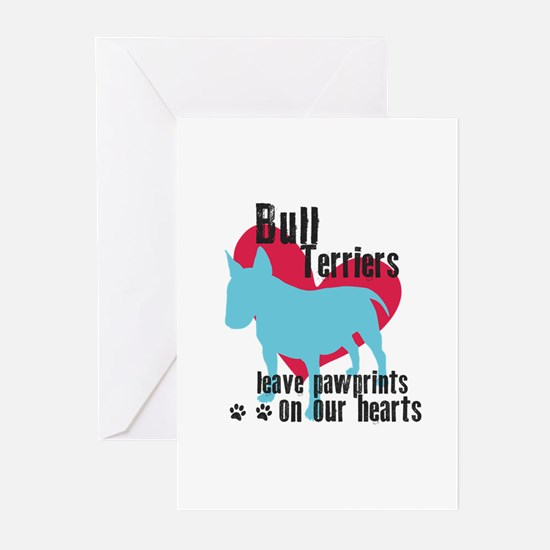 Bull Terrier Pawprints Greeting Cards (Pk of 10)