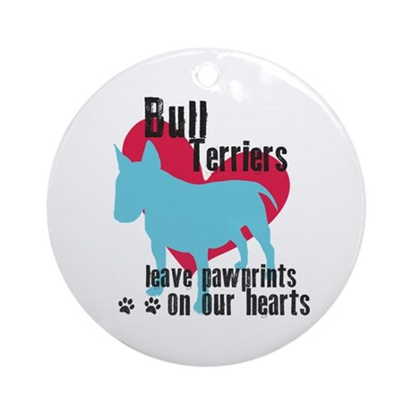 Bull Terrier Pawprints Ornament (Round)