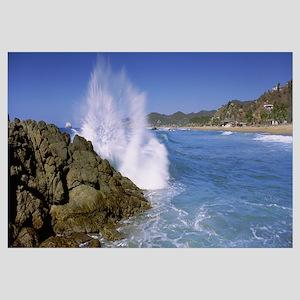 Waves breaking against rocks, Puerto Escondido, Me