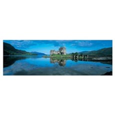 Reflection of a castle in water, Eilean Donan Cast Poster
