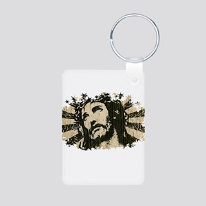 COOL RETRO VINTAGE JESUS Aluminum Photo Keychain
