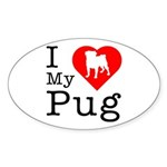 I Love My Pug Sticker (Oval 10 pk)
