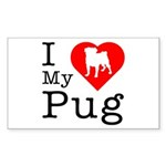 I Love My Pug Sticker (Rectangle 50 pk)