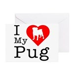 I Love My Pug Greeting Cards (Pk of 10)