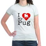 I Love My Pug Jr. Ringer T-Shirt