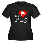I Love My Pug Women's Plus Size V-Neck Dark T-Shir
