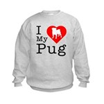 I Love My Pug Kids Sweatshirt