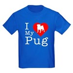I Love My Pug Kids Dark T-Shirt