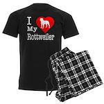 I Love My Rottweiler Men's Dark Pajamas