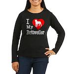 I Love My Rottweiler Women's Long Sleeve Dark T-Sh