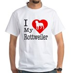 I Love My Rottweiler White T-Shirt
