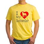 I Love My Rottweiler Yellow T-Shirt